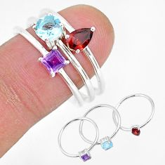 3.18cts natural red garnet amethyst 925 sterling silver 3 rings size 9 r93081