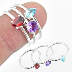 3.23cts natural red garnet amethyst blue topaz 925 silver 3 rings size 9 t51467