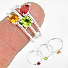 2.81cts natural red garnet citrine 925 silver stackable ring size 6.5 r79841