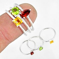 2.81cts natural red garnet citrine 925 silver stackable ring size 7 r79842