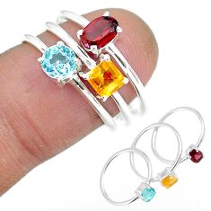 3.28cts natural red garnet citrine 925 sterling silver 3 rings size 6.5 r92473