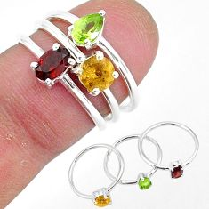3.13cts natural red garnet citrine 925 sterling silver 3 rings size 6 r93022