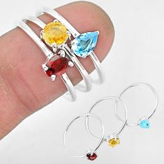 2.74cts natural red garnet citrine 925 sterling silver 3 rings size 8 r93127