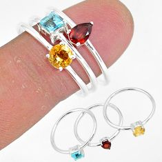 3.18cts natural red garnet citrine 925 sterling silver 3 rings size 9 r93069