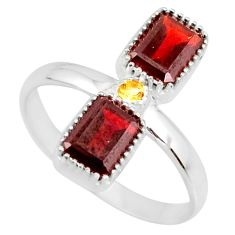 3.32cts natural red garnet citrine 925 sterling silver ring size 8 r77256