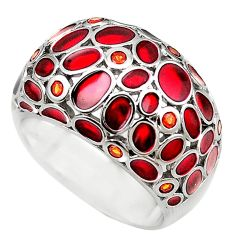 Natural red garnet enamel 925 sterling silver ring jewelry size 9 c22008