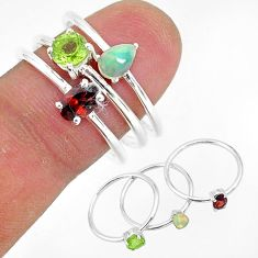 3.18cts natural red garnet ethiopian opal 925 silver 3 rings size 8.5 r93073