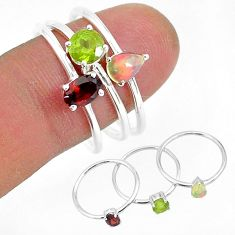 3.18cts natural red garnet ethiopian opal 925 silver 3 rings size 9 r93075