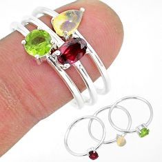 3.04cts natural red garnet ethiopian opal 925 silver 3 rings size 9 r93100