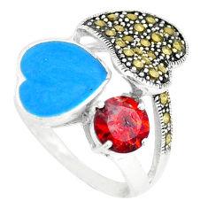 Natural red garnet fine marcasite enamel 925 silver ring size 6.5 c18263