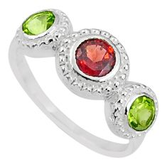 2.11cts natural red garnet green peridot 925 sterling silver ring size 7 r71095