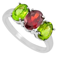 5.50cts natural red garnet green peridot 925 sterling silver ring size 7 r71278