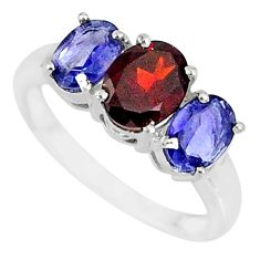 5.45cts natural red garnet iolite 925 sterling silver ring jewelry size 8 r84095