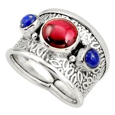 3.70cts natural red garnet lapis lazuli 925 sterling silver ring size 8 r38395