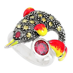 1.60cts natural red garnet marcasite 925 silver dolphin ring size 5.5 c21381