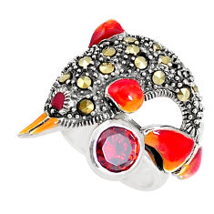 1.50cts natural red garnet marcasite 925 silver dolphin ring size 5.5 c21389