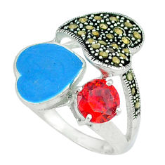 Natural red garnet marcasite enamel 925 silver heart ring size 7 c18274