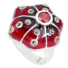 1.07cts natural red garnet marcasite enamel 925 silver ring size 7 c21385