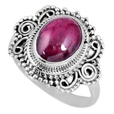 4.44cts natural red garnet oval sterling silver solitaire ring size 8.5 r58984