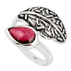 2.58cts natural red garnet pear 925 sterling silver solitaire ring size 7 r36924
