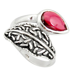 2.58cts natural red garnet pear 925 sterling silver solitaire ring size 8 r36922