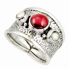 4.12cts natural red garnet pearl 925 sterling silver ring jewelry size 7 r38397