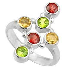 2.52cts natural red garnet peridot 925 silver holy cross ring size 7.5 d46549