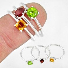 2.81cts natural red garnet peridot 925 silver stackable ring size 7 r79853