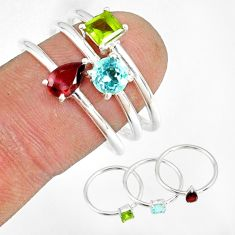 2.97cts natural red garnet peridot 925 silver stackable ring size 8 r79891