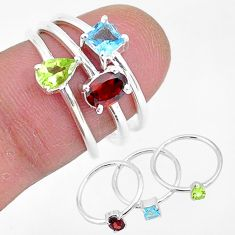 3.14cts natural red garnet peridot 925 sterling silver 3 rings size 6 r93025