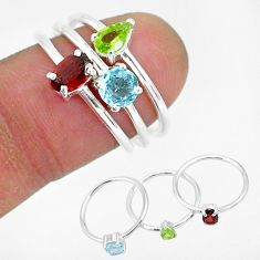 2.97cts natural red garnet peridot 925 sterling silver 3 rings size 6 r93053