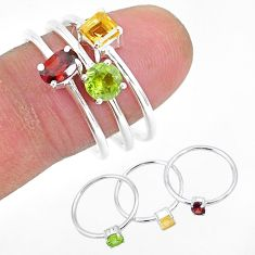 3.04cts natural red garnet peridot 925 sterling silver 3 rings size 9 r93088
