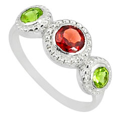 2.57cts natural red garnet peridot 925 sterling silver ring size 8.5 r83925