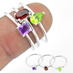 2.98cts natural red garnet peridot amethyst 925 silver 3 rings size 7 t51034