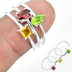 2.69cts natural red garnet peridot citrine 925 silver 3 rings size 7 t51154