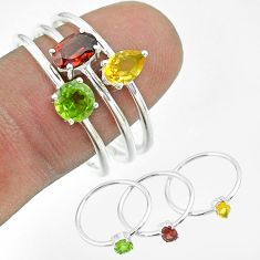 2.81cts natural red garnet peridot citrine 925 silver 3 rings size 9 t51468