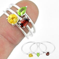 2.97cts natural red garnet peridot citrine 925 silver 3 rings size 9 t51478