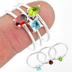 2.98cts natural red garnet peridot topaz 925 silver 3 rings size 8.5 t17679