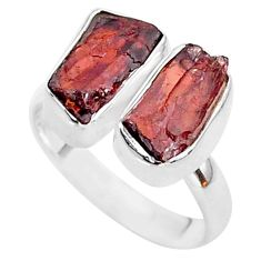 9.70cts natural red garnet rough 925 silver adjustable ring size 7.5 t35025