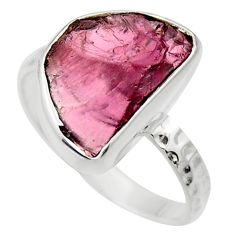 5.92cts natural red garnet rough 925 silver solitaire ring jewelry size 8 r29668
