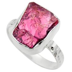6.18cts natural red garnet rough 925 silver solitaire ring jewelry size 8 r29671