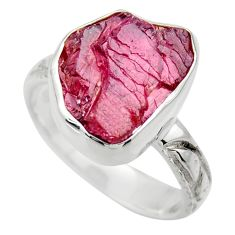 7.89cts natural red garnet rough 925 silver solitaire ring jewelry size 8 r29679