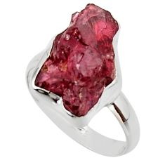 9.32cts natural red garnet rough 925 silver solitaire ring size 8.5 r49015