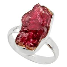 9.32cts natural red garnet rough 925 silver solitaire ring size 8.5 r49016