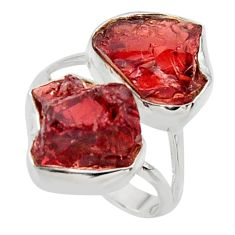 14.72cts natural red garnet rough 925 sterling silver ring jewelry size 8 r49053