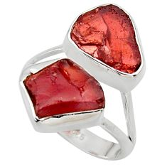 12.52cts natural red garnet rough 925 sterling silver ring size 8.5 r49055