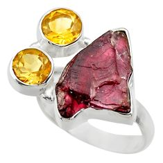 12.83cts natural red garnet rough citrine 925 sterling silver ring size 7 r29721