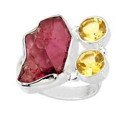 11.36cts natural red garnet rough citrine 925 sterling silver ring size 7 r38346