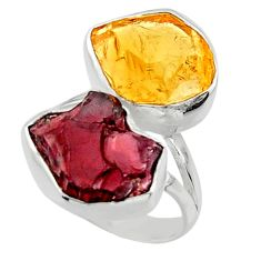 12.96cts natural red garnet rough citrine rough 925 silver ring size 6 r49116