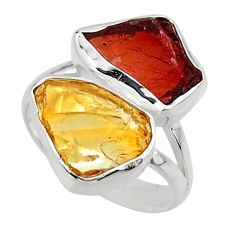11.07cts natural red garnet rough citrine rough 925 silver ring size 7 r49118